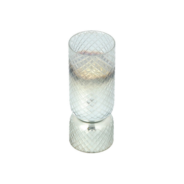 Glass Diamond Candle Holder Solid Cut Ombre And Silver  image number 2