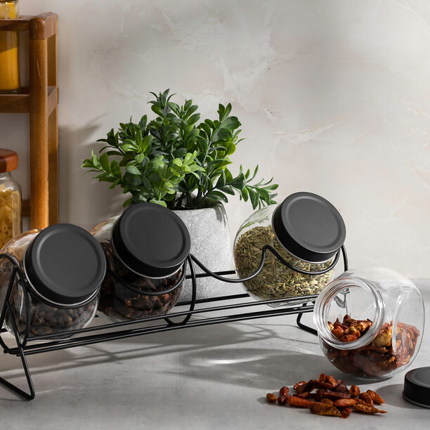 Alberto 4 Pieces Glass Spice Jars With Clip Lid And Metal Rack image number 3