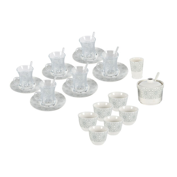 Zukhroof 28 Pieces Porcelain Tea And Coffee Set Othmani Gray Serve 6 image number 1