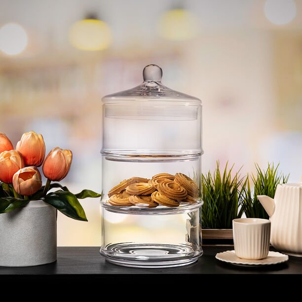 3 Layer Glass Candy Jar image number 1