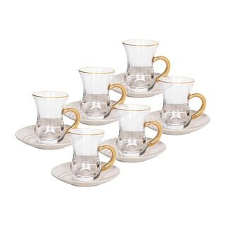 La Mesa Arabic Tea Set 12 Pieces Honey Marble And Gold
