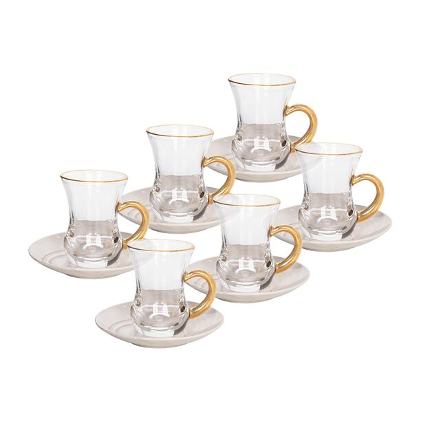 La Mesa Arabic Tea Set 12 Pieces Honey Marble And Gold image number 0