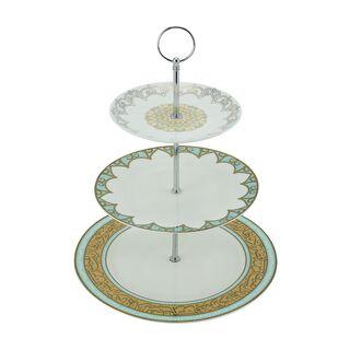 La Mesa 3 Tiers Porcelain Dessert Serving Fairouz New Bone Gold