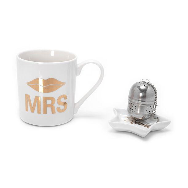 Set 3 300Cc Mug Bone China W/ Steel Tea Ball, Tea Bag Holder Mug: D8.7Xb8Xh9Cm (Mrs) image number 0
