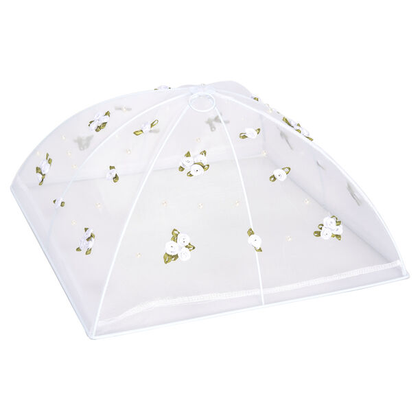 Chef Classics Fold Able White Food Cover With Roses image number 0