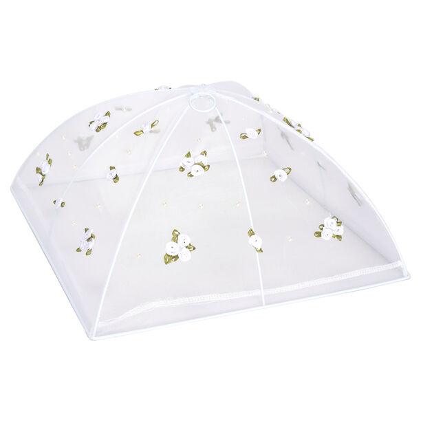 غطاء طعام قابل للطي لون أبيض بزهور  image number 0