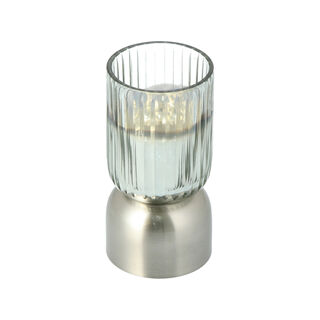 Glass Ribbed Candle Holder Solid Ombre And Silver