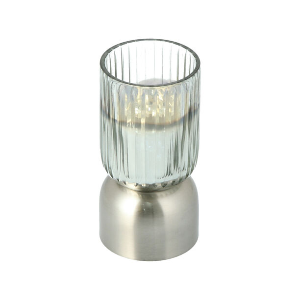 Glass Ribbed Candle Holder Solid Ombre And Silver  image number 0