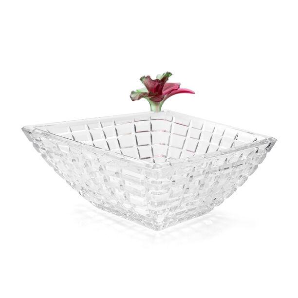 La Mesa Glass Bowl With Pink Crystal Flower 31Cm image number 0