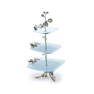 La Mesa 3 Tiers Serving Plates Silver/Blue Design