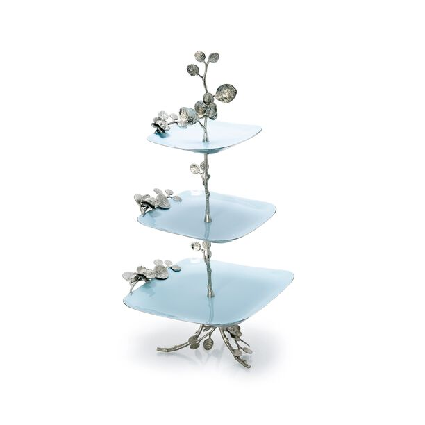 La Mesa 3 Tiers Serving Plates Silver Blue Design image number 0