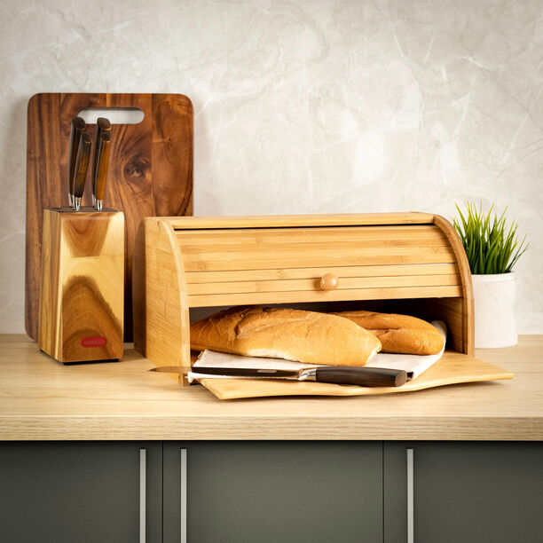 Bamboo Bread Box With Movable Board image number 0
