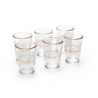 Moroccan Tea Cups Set 6 Pieces Gold
