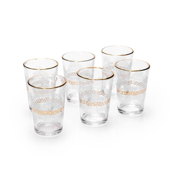 Moroccan Tea Cups Set 6 Pieces Gold image number 0