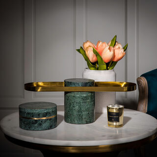 Stainless Steel Cake Stand with Green Marble Top & Bottom With Both Side Black Felt 37*10.5*13 cm