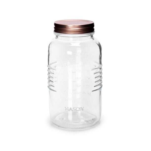 Alberto Glass Mason Jar With Copper Lid image number 0