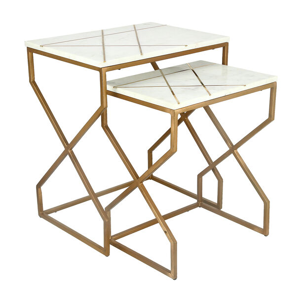 Nested Table Set Of 2 Rect. Marble And Metal White image number 0
