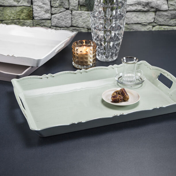 Serving Tray Antique Finish 52*34Cm Green Color image number 2