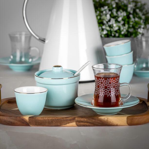 طقم شاي و قهوة عربي 20 قطعة لون أزرق فاتح image number 3