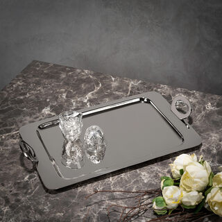 Steel With Wood Tray Rectangular Silver