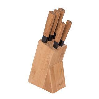طقم سكاكين بمقبض وحامل خشبي 5 قطع من البرتو