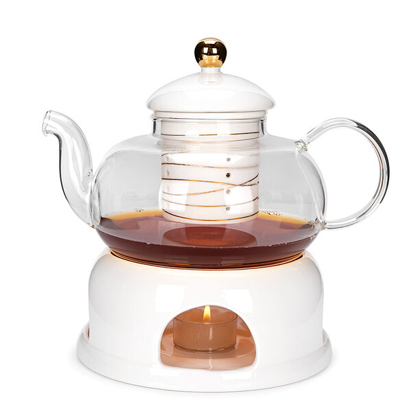 English Tea Pot With Warmer Inner Edg2 Gold image number 1