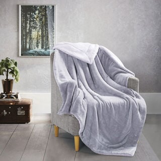 Cottage Flannel Sherpa Throw Gray