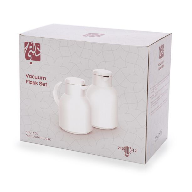 Dallety Plastic Vacuum Flask 2 Pieces Set White  image number 2