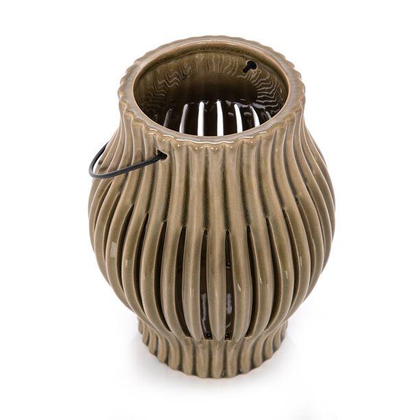 Ceramic Candle Holder Olive Green image number 1