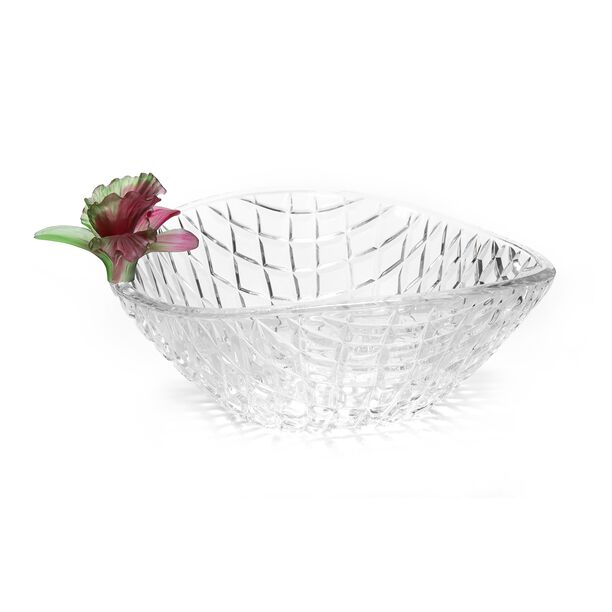La Mesa Glass Bowl With Pink Crystal Flower 26 Cm image number 0