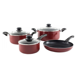 Cookware Non StickSet 7 Pieces With Glass Lid Red