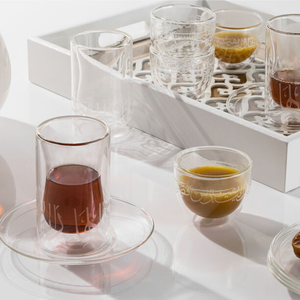 Tea & Coffee Set 18 Pieces Double Wall Calligraphy White image number 2