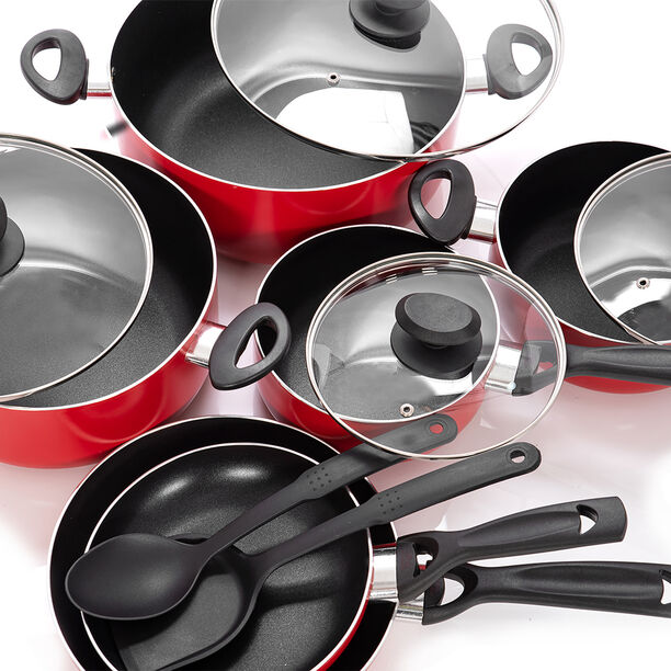 Betty Crocker 12Pcs Non Stick Cookware Set With Glass Lid image number 2