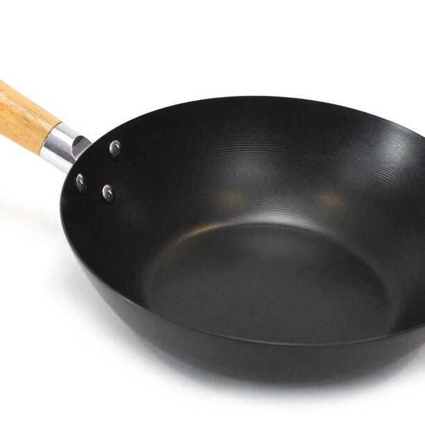 Wok Pan W/Wood Handle Non Stick Round Dia:25Cm 1.5Mm Black Japan image number 1