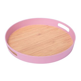 Fiber Bamboo Round Serving Tray Dia:38Cm Pink Color