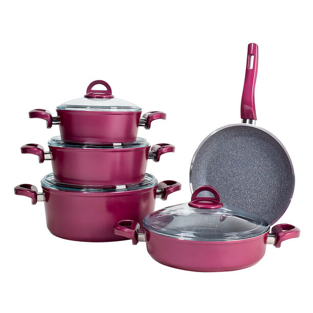 Alberto Granite Cookware Set 9 Pieces With Glass Lid Purple image number 2