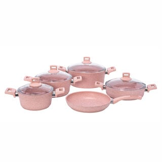 Alberto Granite Cookware Set 9 Pieces With Glass Lid Pinkstone Color
