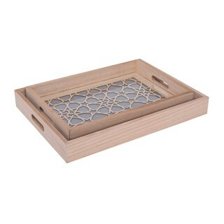 Wooden Rectangle Serving Tray 2 Pieces Set