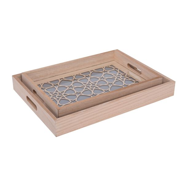 Wooden Rectangle Serving Tray 2 Pieces Set image number 0