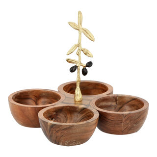 Wooden 4 Bowl With Olive Decoration