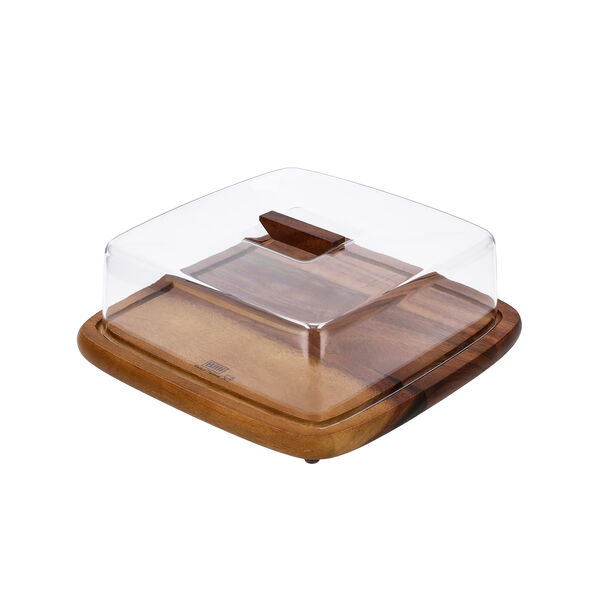 Acacia Wood Square Cake Domewith Acrylic Cover image number 0