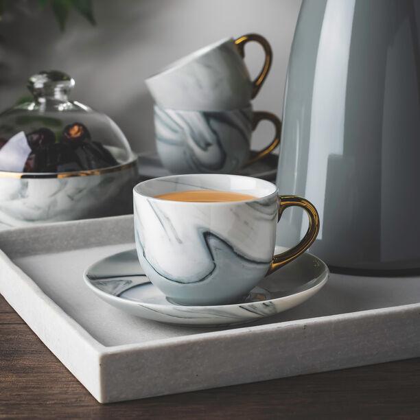 طقم أكواب شاي مع صحون 12 قطعة رخام رمادي مع ذهبي من لاميسا image number 0