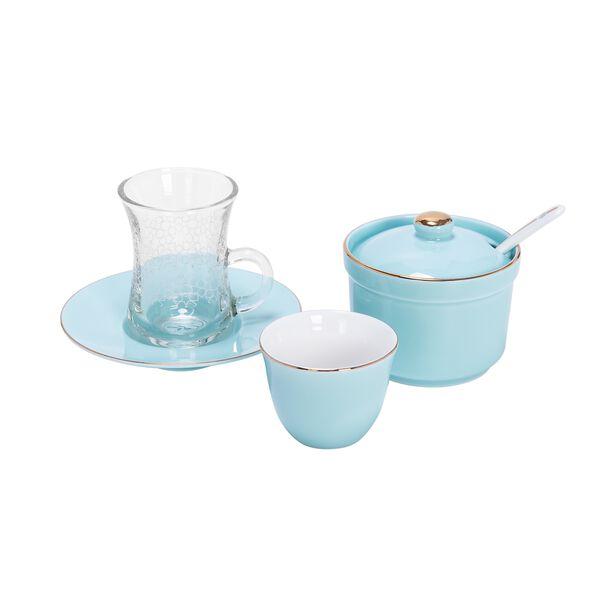 طقم شاي و قهوة عربي 20 قطعة لون أزرق فاتح image number 1
