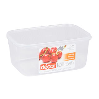 Decor Plastic Food Saver Rectangle Shape V- 1.8 L White Lid ( Tellfresh)