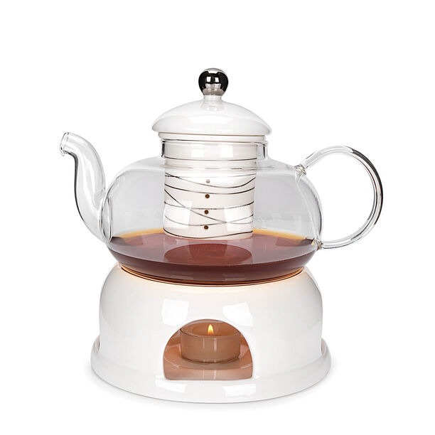 English Tea Pot With Warmer Inner Edg2 Silver image number 1