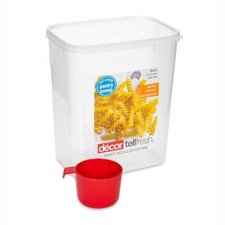 حافظة طعام بلاستيك مستطيل بغطاء محكم الإغلاق مع ملعقة سعة 3لتر بغطاء ابيض من ديكور