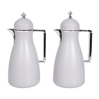 Dallaty 2 Pieces Plastic Vacuum Flask Koufa Beige and Silver 1L