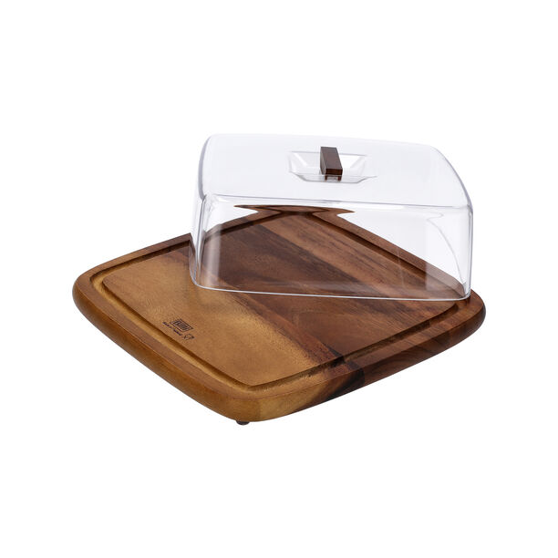 Acacia Wood Square Cake Domewith Acrylic Cover image number 2