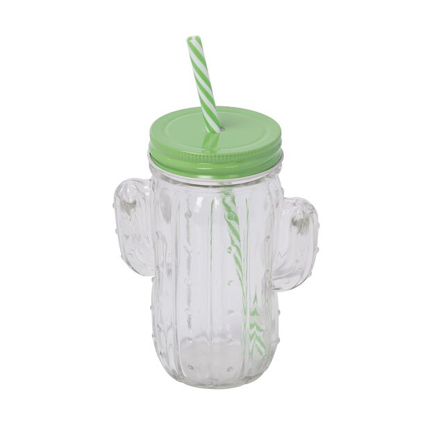 Glass Jar 450Ml With Straw Cactus Shape Clear Body image number 0