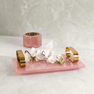 Decorative Tray Rose Quartz Premium Stone